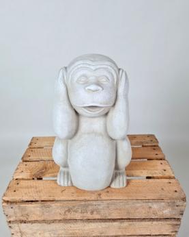 Sæt af 3 aber - Ikke se, høre, tale - hvid