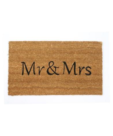 """Kokosmåtte med tekst """"Mr & Mrs"""""""