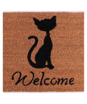 """Kokosmåtte """"Welcome"""" med kattetryk"""