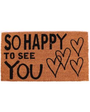 "Kokosmåtte med tekst ""So happy to see you"""