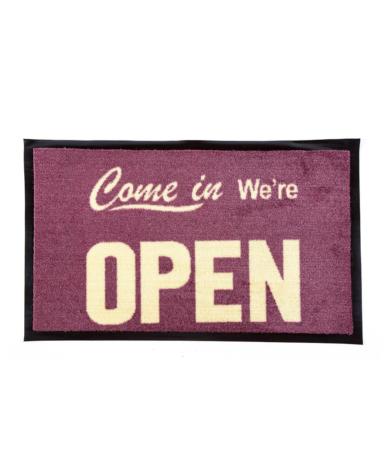 """Nylonmåtte med tekst """"Come in We're OPEN"""""""
