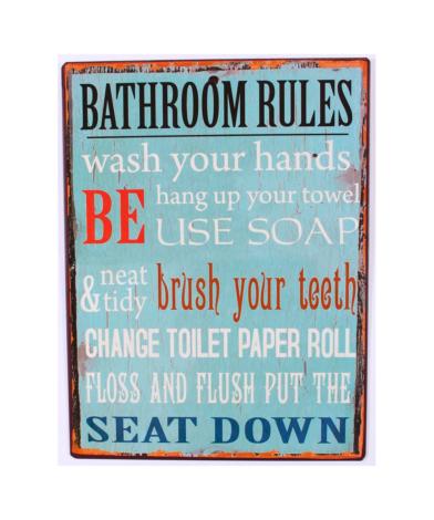 """Skilt """"Bathroom Rules"""""""