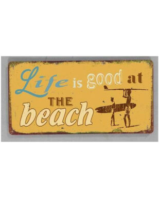 """Magnet med tekst. """"Life is good at the beach"""""""
