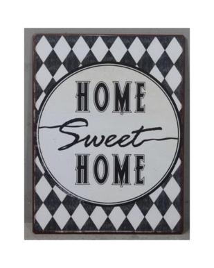 """Metalskilt med tekst. """"Home Sweet Home"""""""