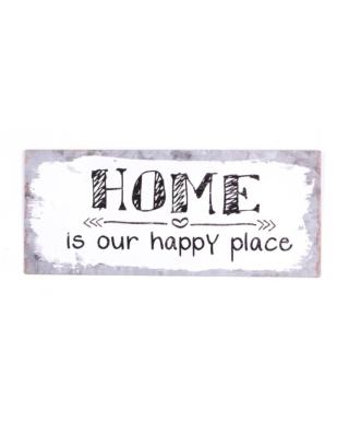 "Metalskilt med tekst. ""Home is our happy place"""