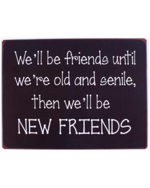 """Metalskilt med tekst. """"We'll be friends until we're old and senile"""