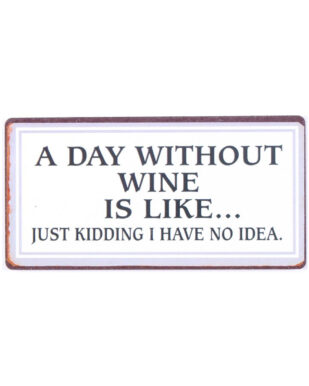 """Magnet med tekst. """"A day without wine is like… Just kidding i have no idea"""""""
