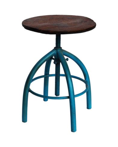Spin drejeskammel med træsæde - blå