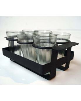 Bakke med 6 glas - sort