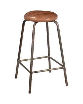 Brooklyn barstol med rundt lædersæde