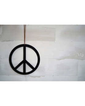 Peace tegn i lædersnor - large