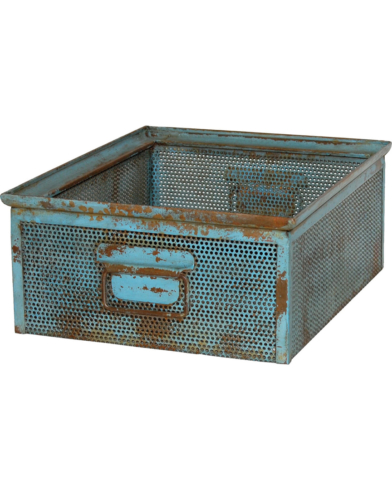 Nick kasse i perforeret jern - Antik blå