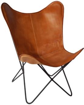 Bohemian loungestol i kraftigt læder - brun