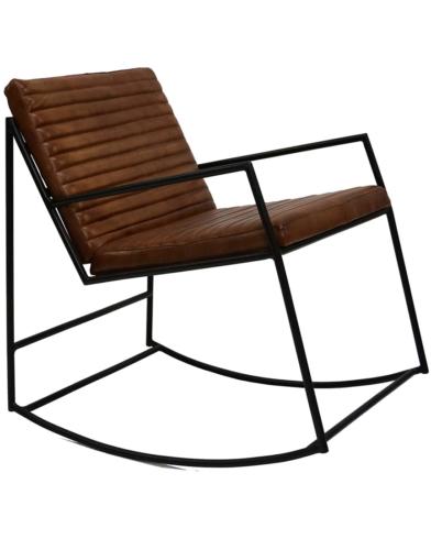 Tyler lounge gyngestol med læder - brun