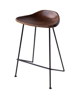 Skammel med lædersæde sæde H 63 cm