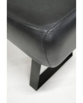 Nero lang læderpuf - sort