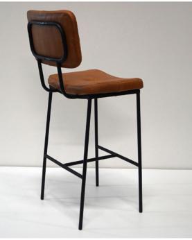 Calm barstol med polstret læder sæde og ryg