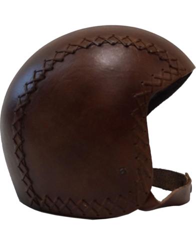 Læderhjelm - mørkebrun